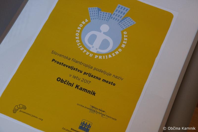 Občini Kamnik naziv 'Prostovoljstvu prijazno mesto'